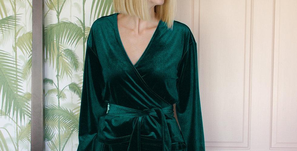 MYRNA   Green Velvet Wrap Top with Ties