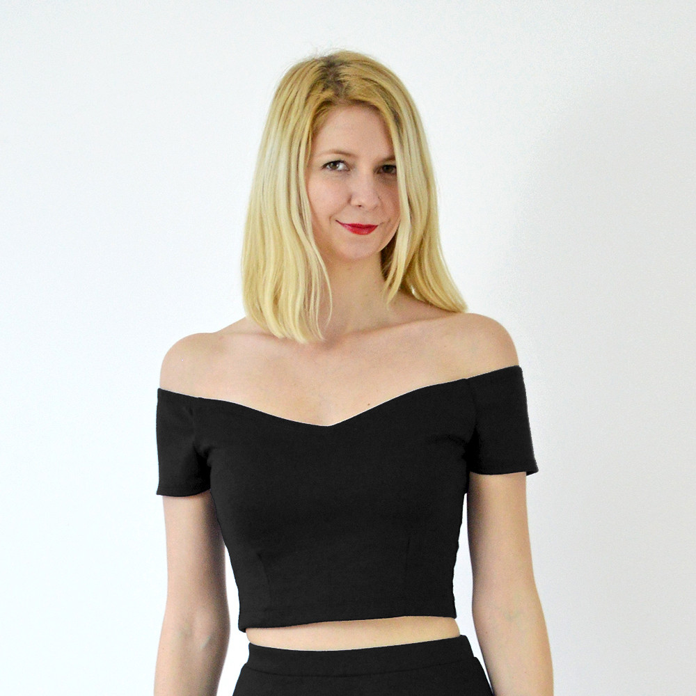 Stylecamp's Coco off shoulder crop top in black