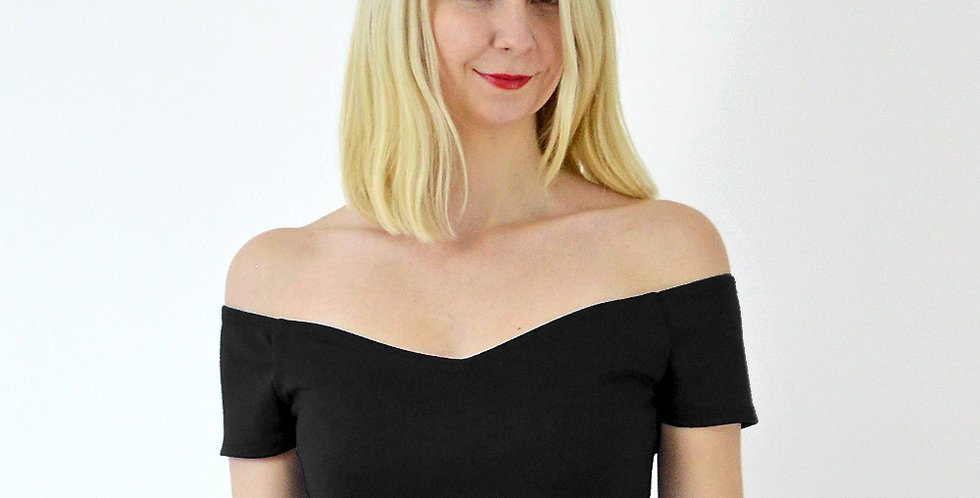 Off Shoulder Cropped Top in Black front view