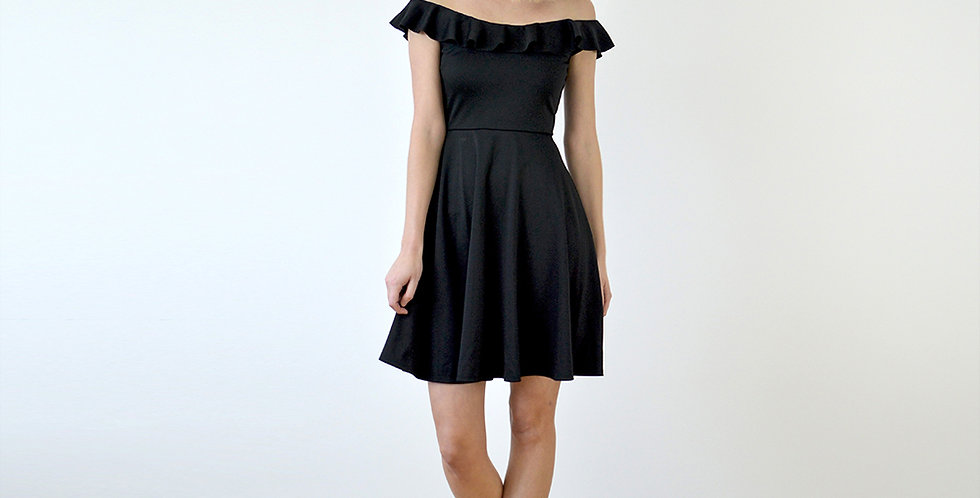 Ginger Off Shoulder Skater Dress full front view