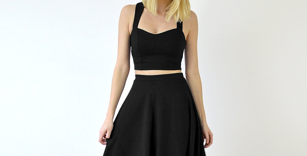 Grace Crop Top and Skater Skirt Combo in Black front view