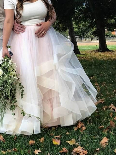 Wedding outfit with off shoulder crop top and stunning tulle skirt