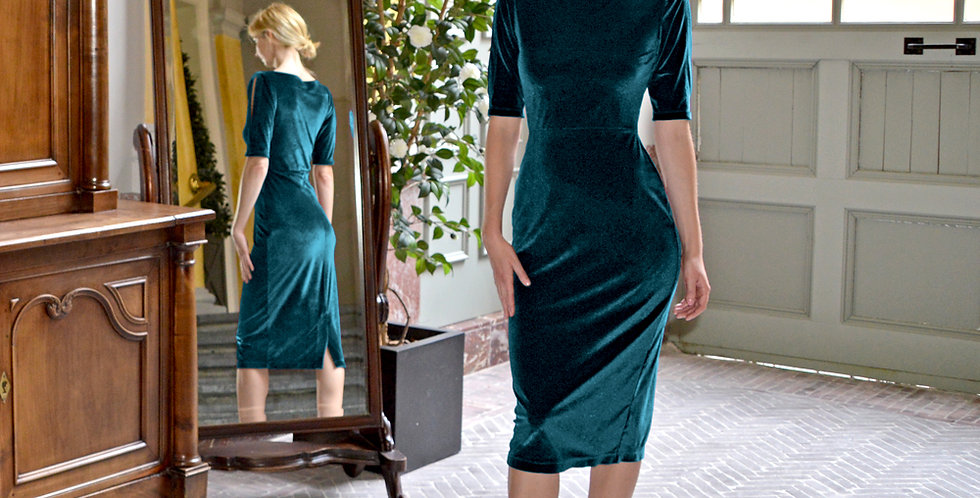 Lombard Split Sleeve Velvet Party Dress