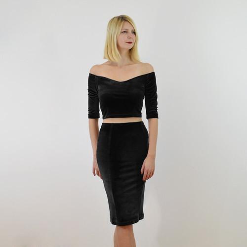 2e051dfcb89 ... Crop Top and Pencil Skirt. £65.00 · Audrey Black Velvet Co-Ords Set  front view ...