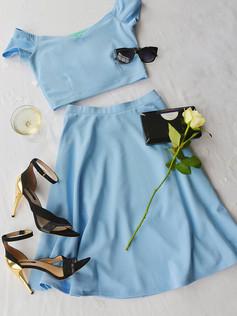 Coco Pastel Blue Two Piece Dress