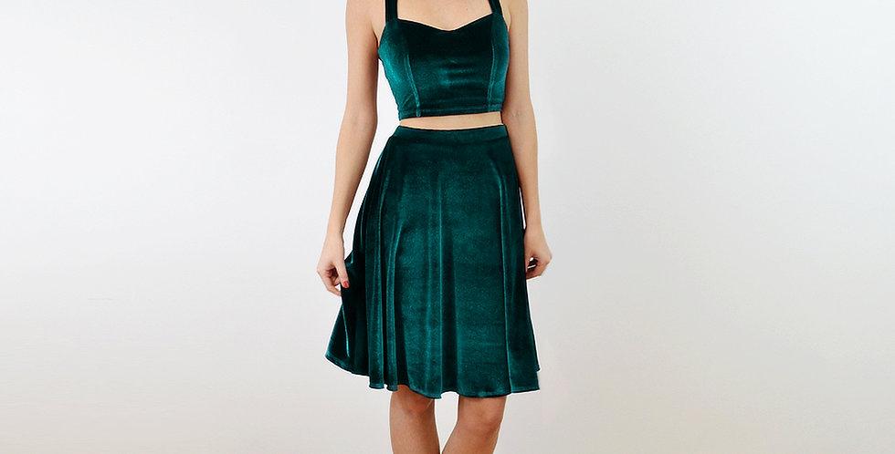Green Velvet Bralet & Skater Skirt Co-Ord Set