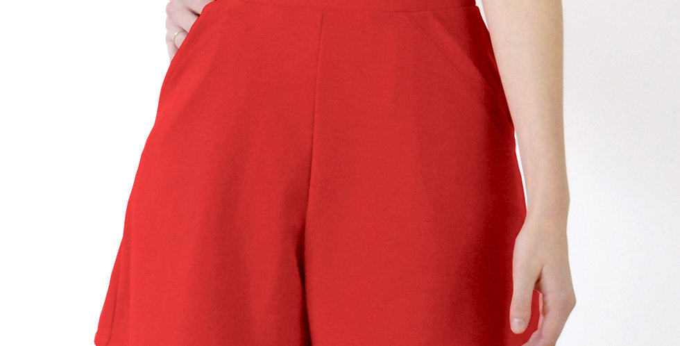 Vintage Riviera Style Flared High Waist Shorts in Red front view