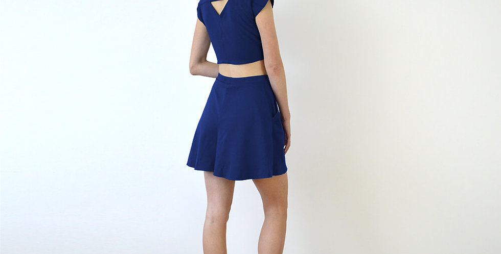 Ava Two Piece Top and Beach Shorts Set in Navy full back view