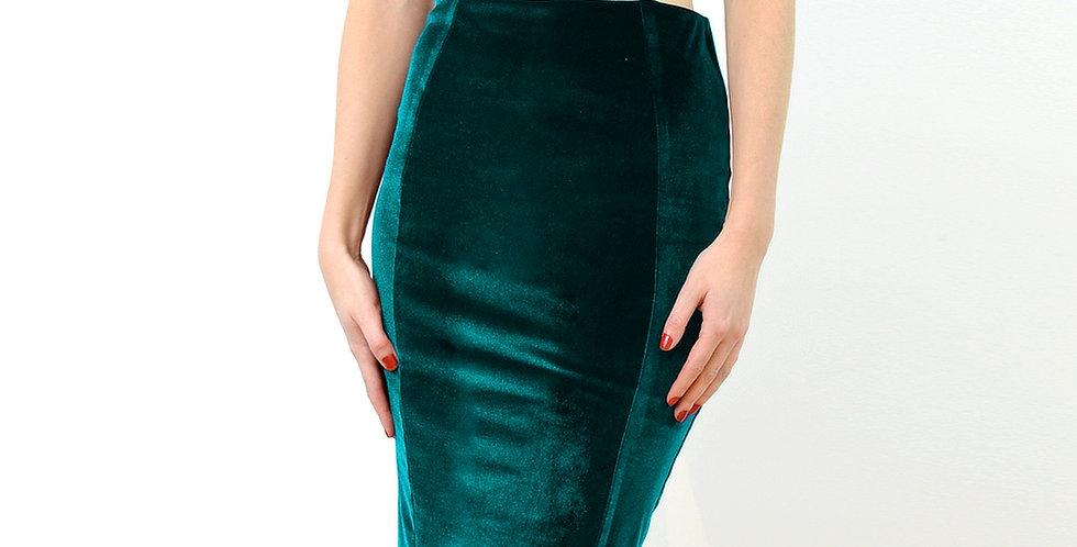 High Waisted Velvet Pencil Skirt in Green