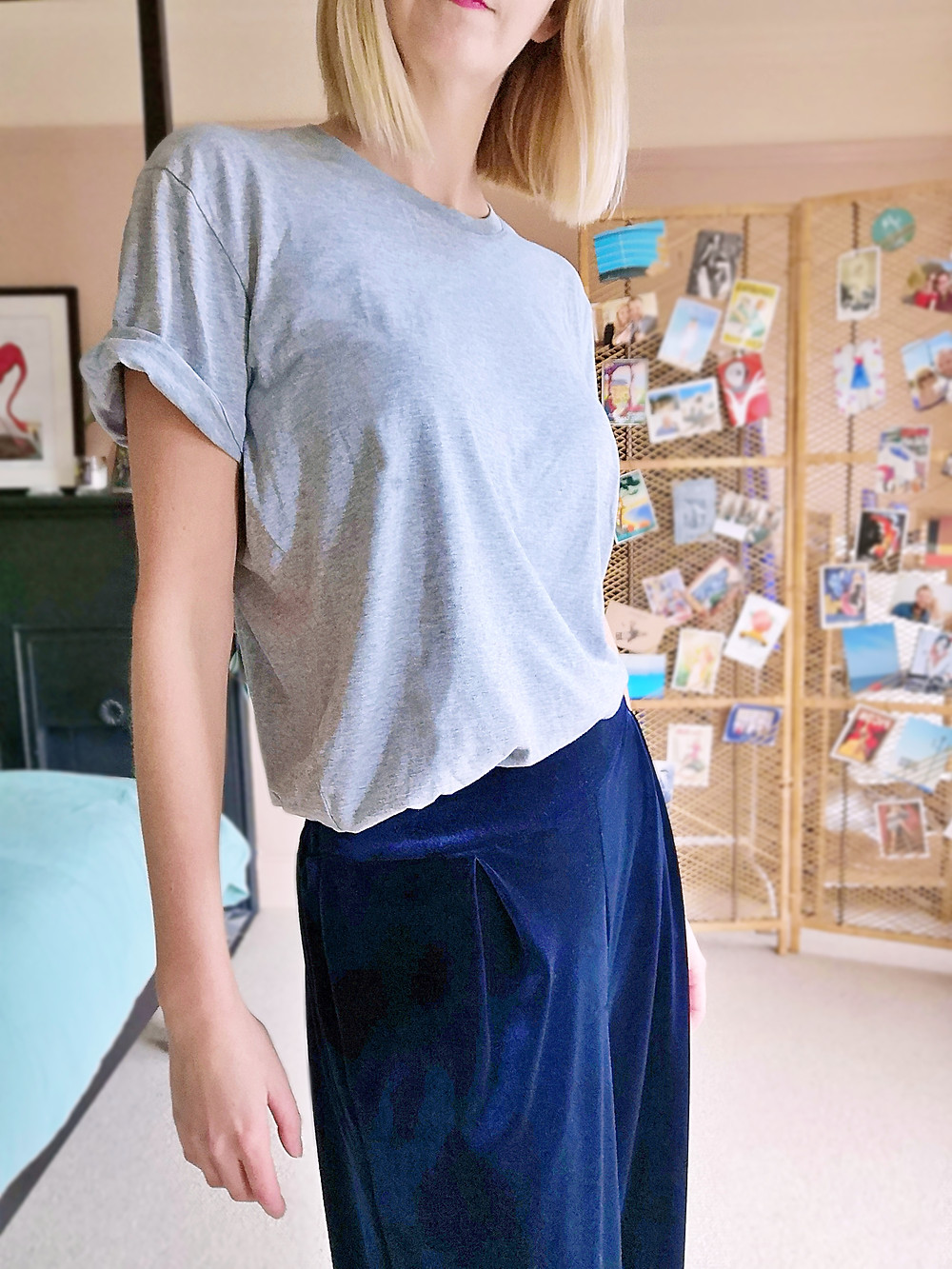 Stay at home lounge outfit with velvet wide leg trousers and tee