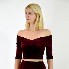 Red velvet off shoulder crop top