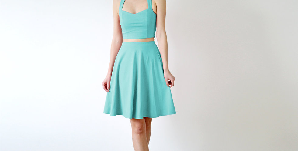 Crop Top and Skater Skirt Set in Mint Green