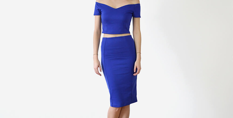 Audrey Crop Top and Skirt Outfit in Royal Blue full front view