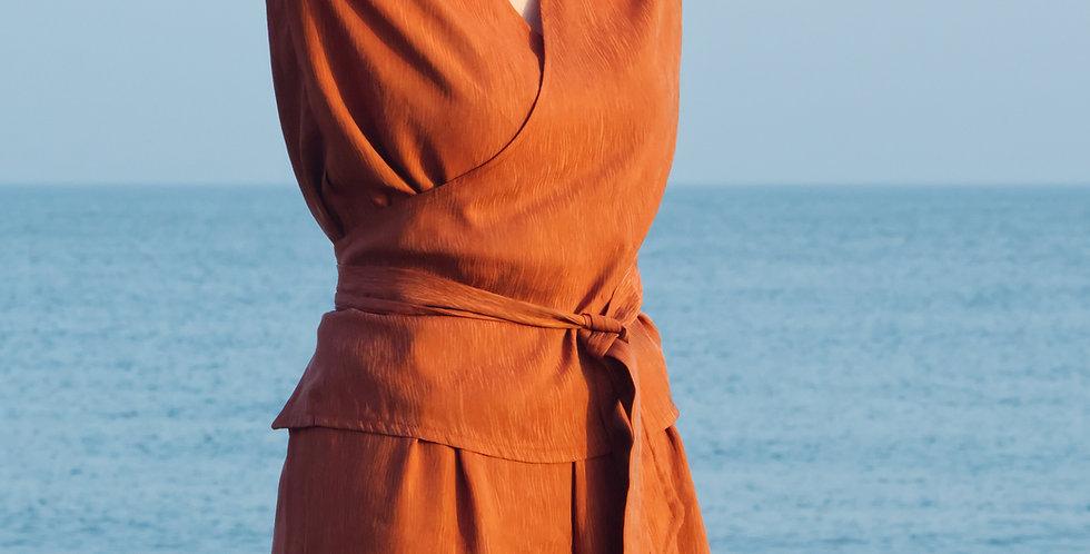MYRNA | Silky Cupro Kimono Style Wrap Top in Burnt Orange
