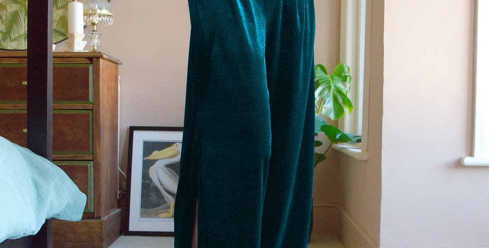 HEPBURN | Teal Blue Velvet Wide Leg Pants