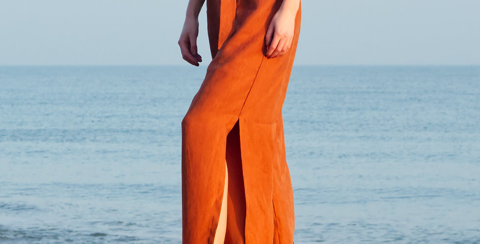 HEPBURN | Silky Cupro Wide Leg Summer Pants in Burnt Orange