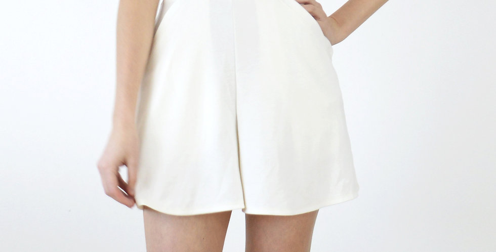 Riviera Style High Waisted Jersey Beach Shorts in White front view