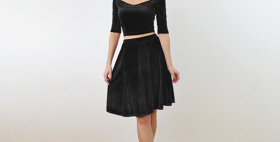 Black Velvet Top and Skater Skirt Dress Set