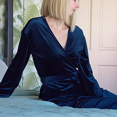 Navy velvet wrap top and matching lounge trouser