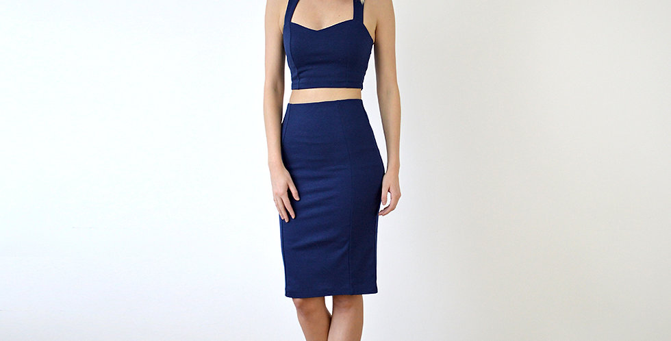 Kirsten Two Piece Crop Top Set in Navy full front view