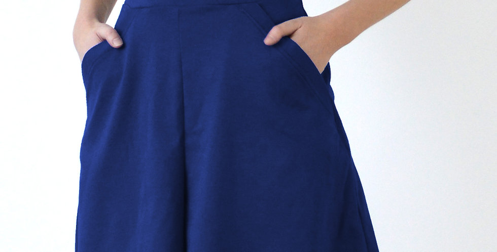 1940s Beach Style Flared Shorts in Navy front view