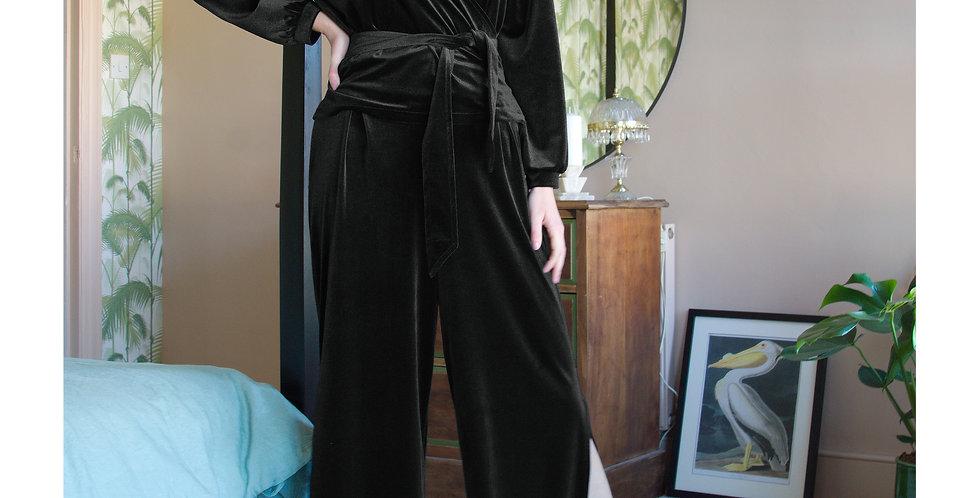 LOUNGEWEAR SET   Black Velvet Wrap Top and Trouser Co-Ords