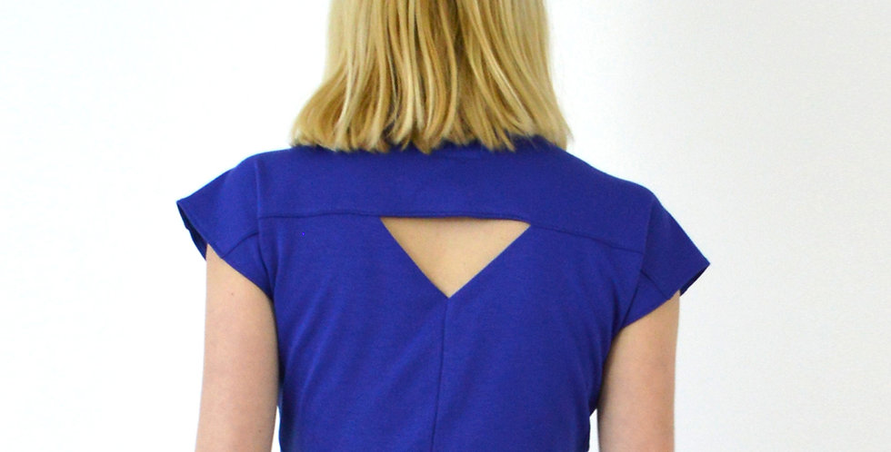 Ava Pin-Up Geometric Cut Out Crop Top in Royal Blue close up back view