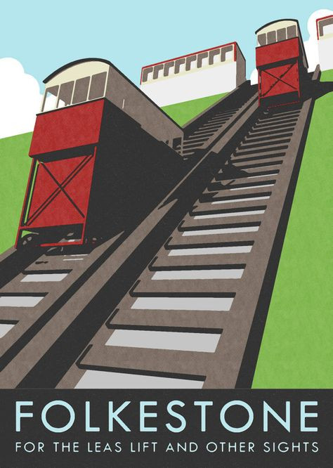 Leas Lift poster by Seafront Studios