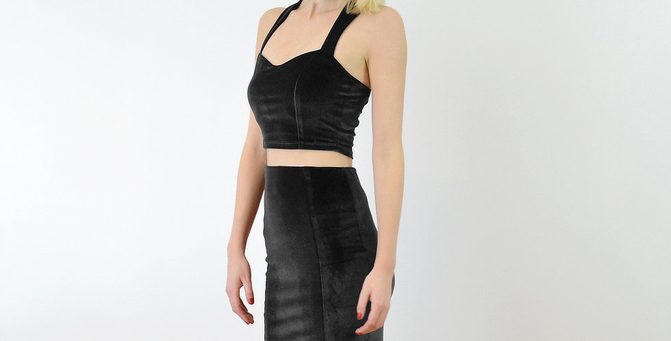 KIRSTEN | Black Velvet Crop Top and High Waist Pencil Skirt