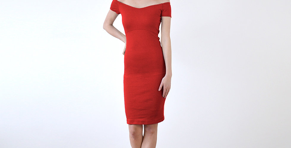 Bardot Off Shoulder Fitted Pencil Dress in Red full front view