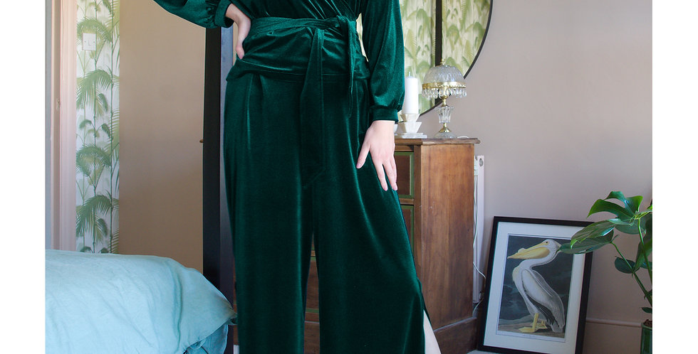 LOUNGEWEAR SET | Luxury Velvet Wrap Top and Matching Trousers in Forest Green