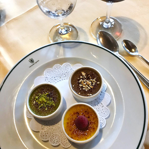 Don't miss out on Locanda Cipriani's trio of creme brulees made with pistachio and hazelnut