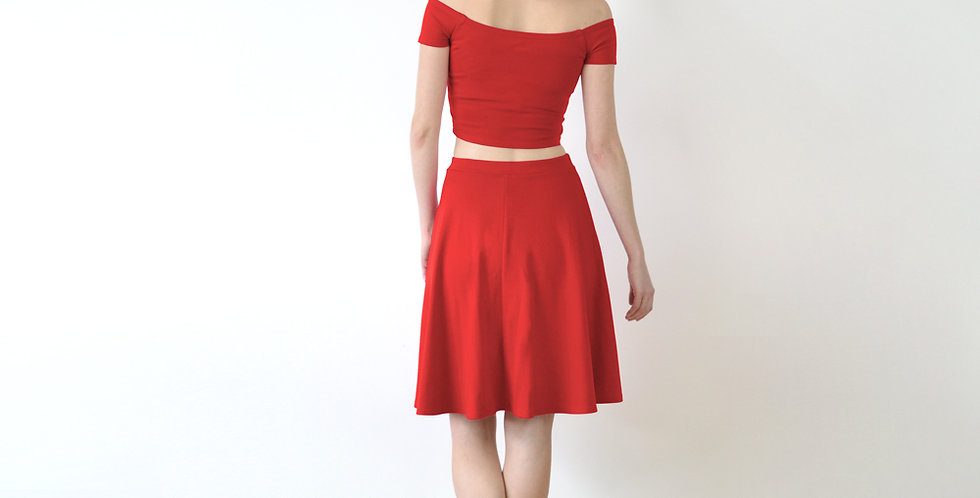 Coco Crop Top and Skater Skirt Set in Red full back view