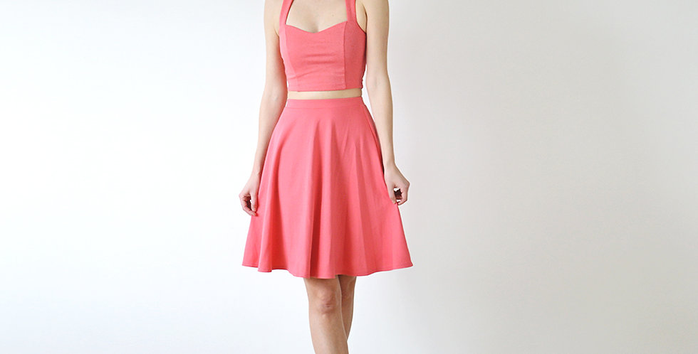 Grace Jersey Co-Ord Set in Coral Pink full front view