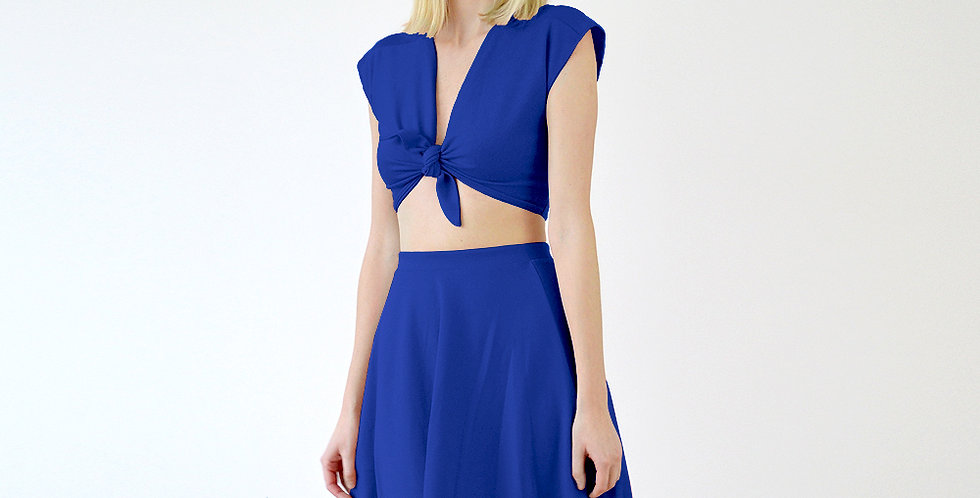 Lupe Pin-Up Tie Front Crop Top Co-Ords Set in Royal Blue front view