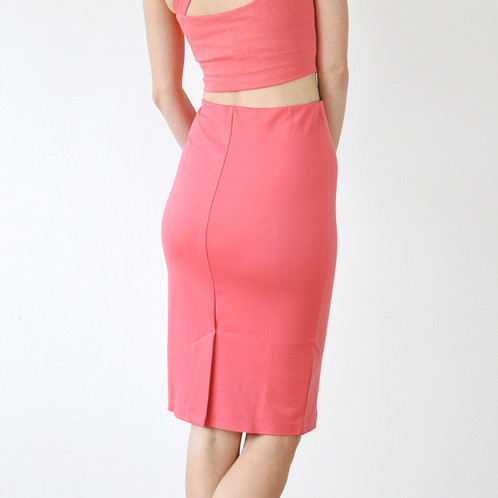 5ae7599d7d75 ... pencil skirt view; Kirsten Summer Jersey Co-Ord in Coral Pink back skirt  view ...