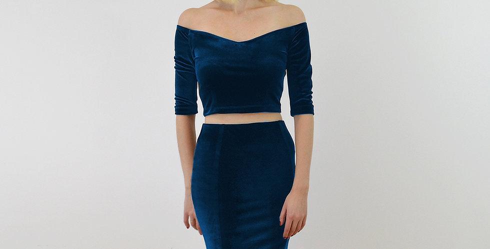 Velvet Off Shoulder Top and Pencil Skirt Set in Navy Blue