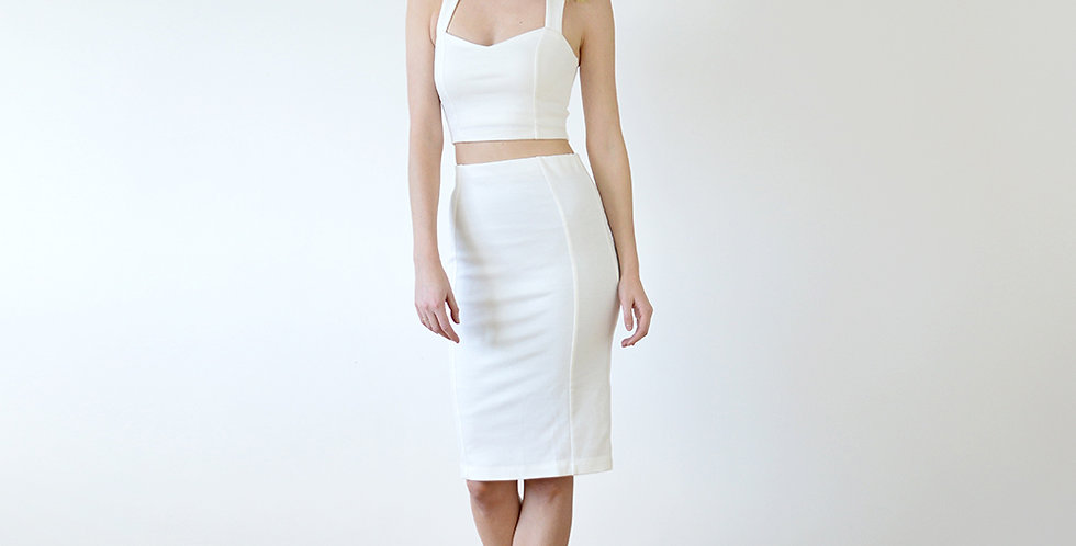 Kirsten Bodycon Two Piece Set in White full front view
