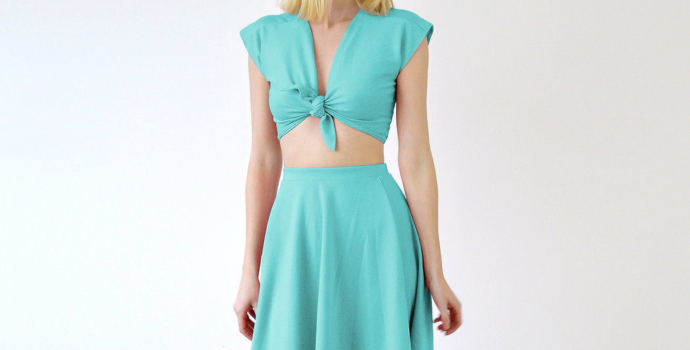LUPE | Vintage Style Tie Up Crop Top and Skater Skirt Set in Mint Green