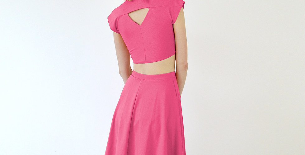 Lupe Tie Up Crop Top Set with Skirt in Hot Pink back view