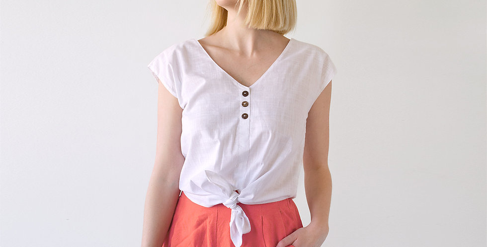 Lana Cropped Tie Up Linen Blouse in White