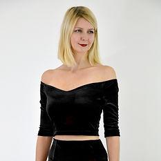 Black velvet off shoulder crop top