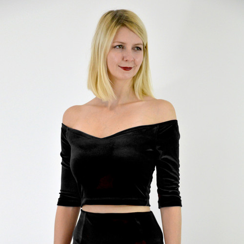 3a99e84f2 Vintage Style Off Shoulder Velvet Crop Top in Black Velvet front view ...