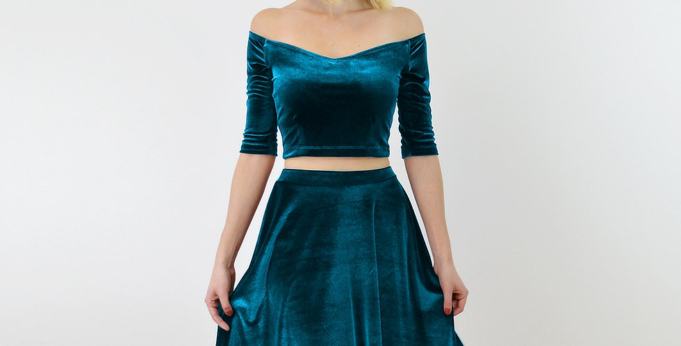 COCO | Teal Blue Velour/Velvet Off Shoulder Top and High Waist Skater Skirt Set
