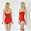 Una Sexy Red Bodycon One Piece Bodysuit with Skinny Straps front and back view