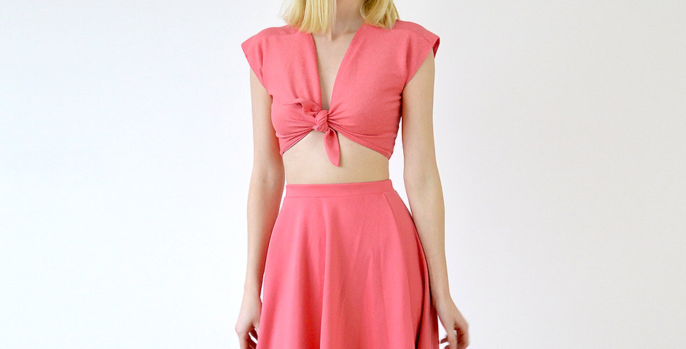 Lupe Vintage Style Summer Two Piece Dress in Coral Pink front view