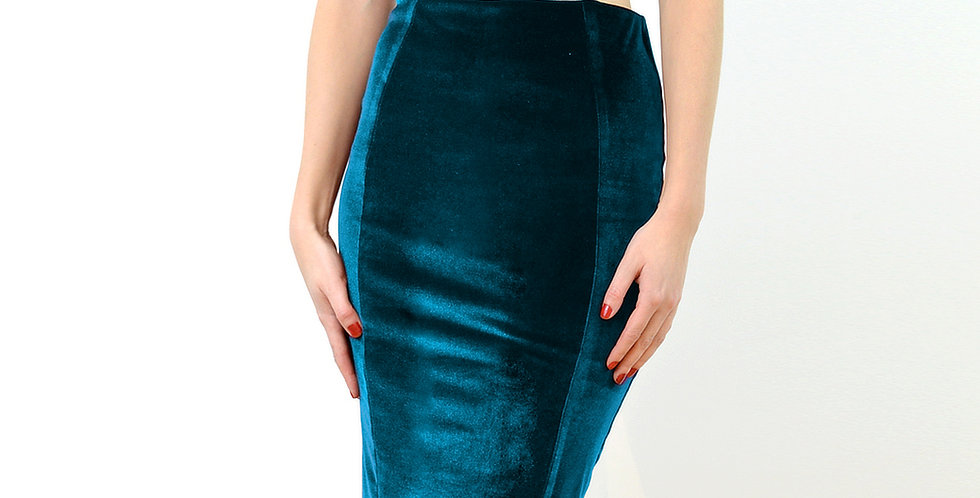 High Waist Pencil Skirt in Teal Velvet