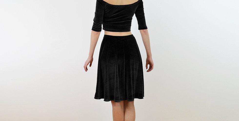 Coco Black Velvet Long Sleeve Crop Top and Skater Skirt Dress Set full back view