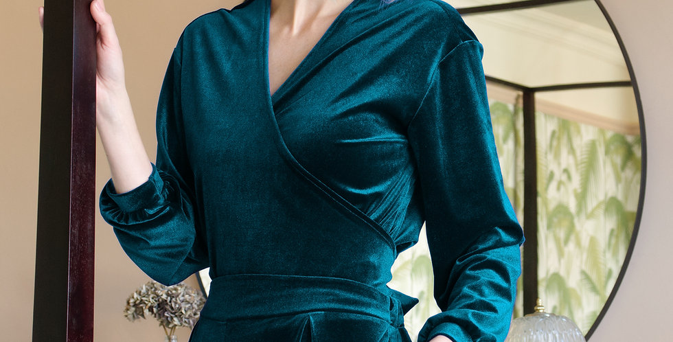 MYRNA | Teal Velvet Wrap Over Top with Belt Ties