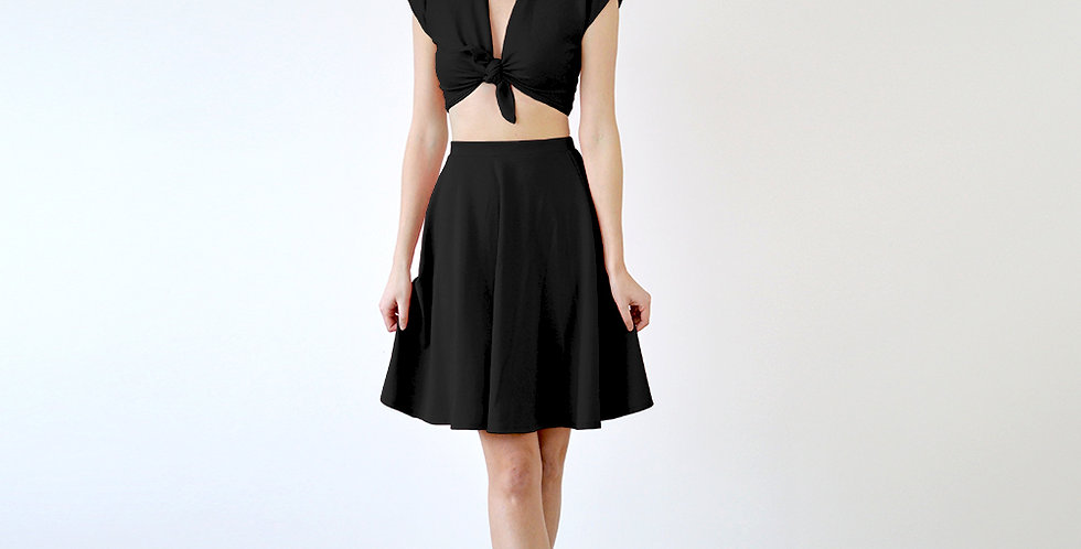 Lupe Vintage Style Tie Up Crop Top Set in Black full front view